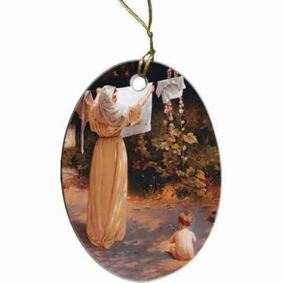 Polish Madonna Two-Sided Porcelain Christmas Ornament -  - ORN-50
