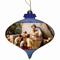 Adoration (Mary and Jesus w/Children) by Guiseppe Magni Wood Ornament