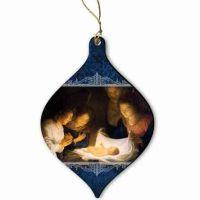 Nativity Laser-Cut Wood Ornament w/Satin Ribbon
