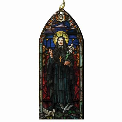 Saint Frances Cabrini Stained Glass Wood Ornament -  - ORNC-SG23