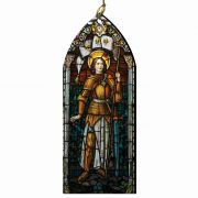 Saint Joan of Arc Stained Glass Wood Ornament