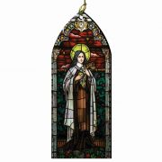 Saint Therese of Lisieux Stained Glass Wood Ornament