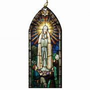 Our Lady of Fatima / the Shepherd Children Stained Glass Wood Ornament
