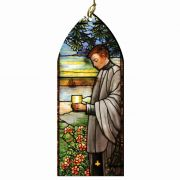 Saint Aloysius Gonzaga Stained Glass Wood Ornament