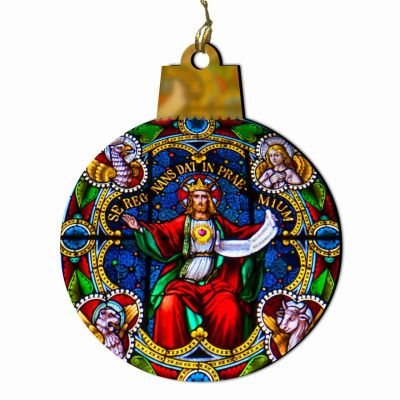 Sacred Heart of Jesus Reigning Stained Glass Wood Ornament -  - ORNC-SG49 round