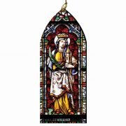Saint Barbara Stained Glass Wood Ornament