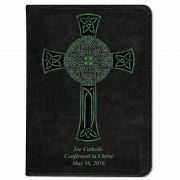 Personalized/Custom Text Bible w/ Celtic Cross Cover - Black NABRE