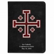 Personalized/Custom Text Bible w/Cross of Jerusalem Cover Black RSVCE