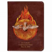 Personalized/Custom Text Bible w/Holy Spirit Fire Cover Burgundy RSVCE