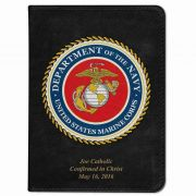 Personalized/Custom Text Catholic Bible w/ Marines Cover - Black RSVCE