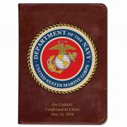 Personalized/Custom Text Bible w/ Marines Cover - Burgundy RSVCE