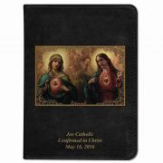 Personalized/Custom Text Bible w/Immaculate Hearts Cover Black RSVCE