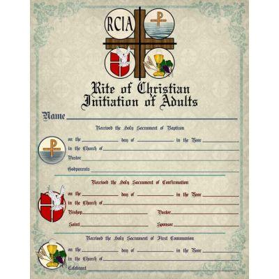 RCIA Sacrament Certificate of Initiation Unframed -  - PRI-CERT-RCIA1