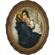 Madonna of the Streets Canvas - Oval Framed Wall Art