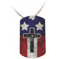 USA Cross Dog Tag On A Beaded Metal Chain