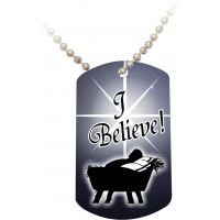 I Believe Dog Tag w/Beaded Metal Chain