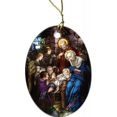 Nativity Stained Glass Ornament -  - ORN-PS91