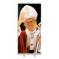 Pope Saint John Paul II Waving Banner Stand