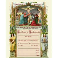 Confirmation Sacrament Certificate with Crucifxion Unframed