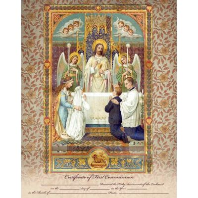 Traditional First Communion Sacrament Certificate with Angels Unframed -  - PRI-CERT-FC1