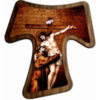 Saint Francis Tau Cross (Mounted On Wood) Wall Plaque