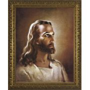 Head of Christ - Standard Gold Framed Wall Art by Warner Sallman