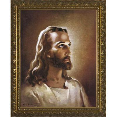 Head of Christ - Standard Gold Framed Wall Art by Warner Sallman -  - WS-1-2