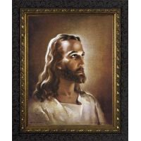 Head of Christ - Ornate Dark Framed Wall Art
