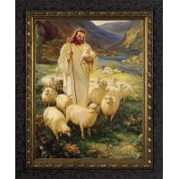 Good Shepherd - Ornate Dark Framed Wall Art