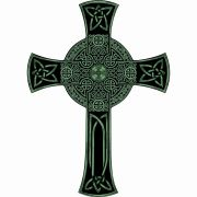 Glossy Emerald Green Celtic Wall Cross Solid Wood