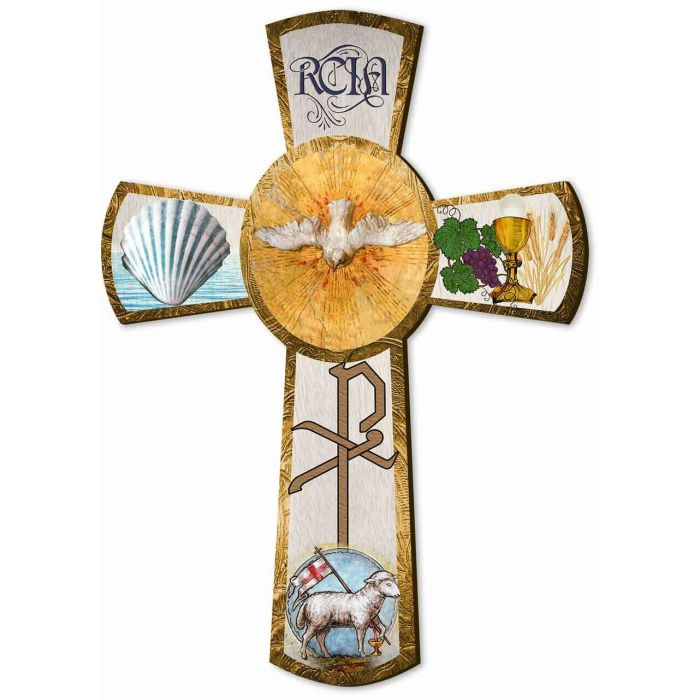 Rcia Gift Cross Symbols Of Each Of The 3 Sacraments Of Initiation