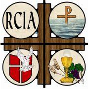 RCIA Cross Wall Plaque Symbols Of 3 Sacraments Of Initiation