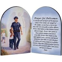 Protector: Police Guardian Angel Arched Diptych w/Prayer for Policemen