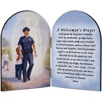 Protector: Police Guardian Angel Arched Diptych w/Policeman's Prayer