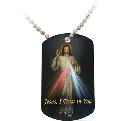 Divine Mercy Dog Tag w/Beaded Metal Chain -  - DT-35