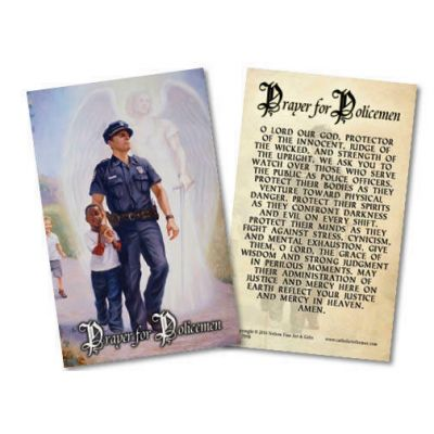 The Protector: Police Guardian Angel Holy Card w/Prayer for Policemen -  - HC-799B
