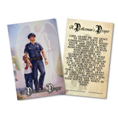 The Protector: Police Guardian Angel Holy Card with Policeman s Prayer -  - HC-799C