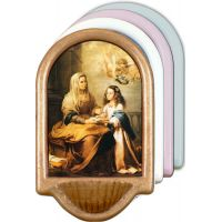 St Anne Holy Water Font 4x6in Wood Plaque, 4 Color Choices