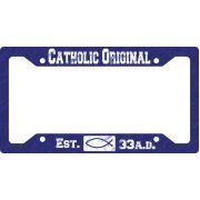 Catholic Original Blue License Plate Frame