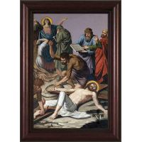 Stations of the Cross framed in Cherry Wood Frames (Set of 14)
