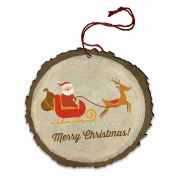 "Vintage ""Merry Christmas"" Santa's Sleigh Wood Ornament"