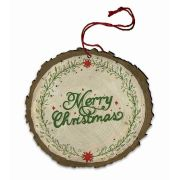 "Vintage ""Merry Christmas"" Poinsettia Garnish Wood Ornament"