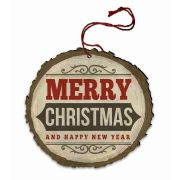 """Vintage """"Merry Christmas and a Happy New Year"""" Wood Ornament"""