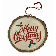 """Vintage """"Merry Christmas"""" with Holly Wood Ornament"""