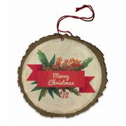 """Vintage """"Merry Christmas"""" Poinsettia and Pine Wood Ornament"""