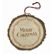 "Vintage ""Merry Christmas"" Garnish Wood Ornament"