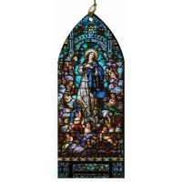 Assumption Stained Glass Wood Ornament