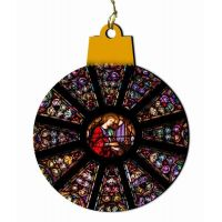 St. Cecilia Stained Glass Wood Ornament