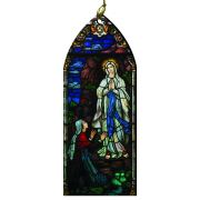 Our Lady of Lourdes and St. Bernadette Stained Glass Wood Ornament