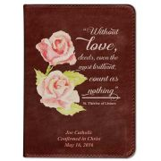 Personalized/Custom Text Bible w/St. Therese Rose Cover Burgundy RSVCE
